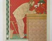PRINT SALE 20% OFF Vintage 1971 Art Nouveau Architect at his Desk Poster Illustration Bookplate Print for Framing