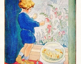 PRINT SALE 20% OFF Vintage 1920's Little Boy on Rainy Day Looking Outside, Fish Bowl, Hollyhocks, Illustration Print w Verse by Ruth M Hallo