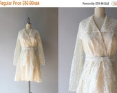 STOREWIDE SALE Vintage 1960s Dress / 60s Cream Lace Dress / Belted Scalloped Sixties Lace Wrap Dress