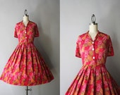 1950s Cotton Dress / Vintage 50s Feather Print Dress / 50s Novelty Print Shirtwaist Day Dress