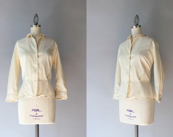 1950s Silk Blouse / Vintage 50s Cream Silk Button Down Blouse / Hadley Silk Shirt