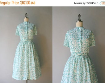 STOREWIDE SALE 1960s Day Dress / Vintage 50s Blue Floral Shirtwaist Dress / Early 60s White Button Down Dress