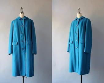 Vintage Pendleton Coat / 1960s Turquoise Blue Wool Coat / 60s Pendleton Coat