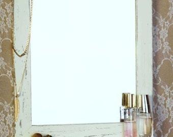 Cream Shabby Chic Wooden Mirror, Vintage mirror, wall mirror