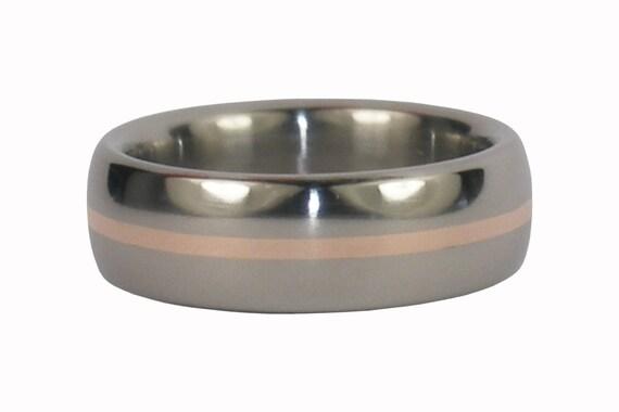 Titanium Ring with Rose Gold Inlay