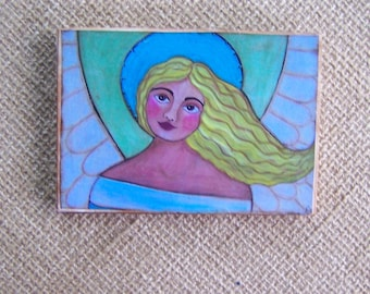 "Angel Painting print Woodblock Print encaustic 3.5"" x 5"""