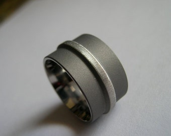 Titanium Ring, Wedding Band, Frost Sandblasted Combination