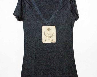 Paris Women's Tshirt, Print Tshirt, Vneck Tshirt, Appliqued Tshirt, Crown Tshirt, Wreath Tshirt,  Vintage Style Tshirt