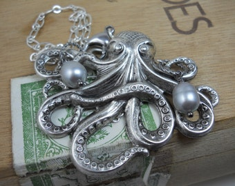 Necklace Silver Octopus Charm with Freshwater Pearls Large Silver Charm Vintage Tooling Ocean Sea Nautical Beach Jewelry Statement Necklace