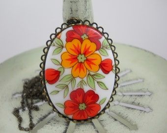Large Glass Vintage Cabochon Necklace Bright Colorful Cheery Flowers Red Orange Poppies on Brass Beaded Chain Flower Jewelry