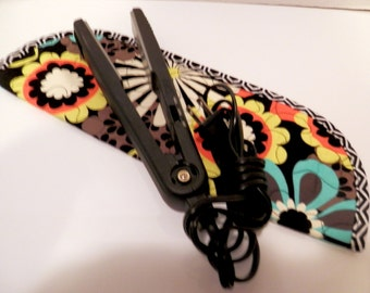 Quilted Flat Iron or Curling Iron Cover  Black Print