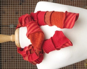 Patchwork Scarf - Upcycled and Eco Friendly - Crimson