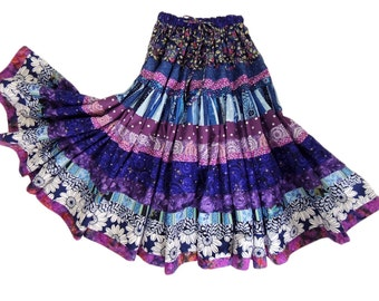 Two Tier Full Circle Gypsy Patchwork Skirt