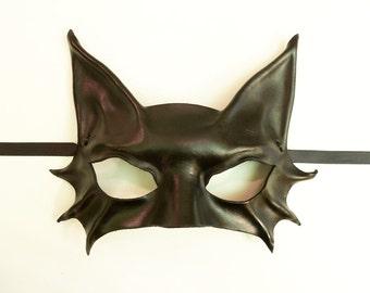 Little Kitty Black Cat Leather Mask very lightweight yet sturdy