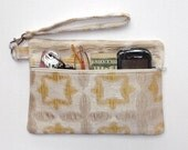 Gold Beige Silver Wristlet, Scratch and Dent Sale, Shimmery Clutch, Formal Womens Wallet, Evening Small Purse, Makeup, Gadget or Camera Bag