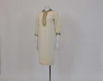 60s dress / Vintage 1960's Mod Heavily Beaded Collar Shift Cocktail Dress