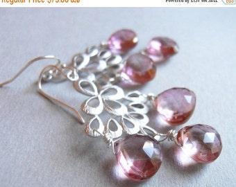 FLASH SALE, Mystic pink earrings, Mystic Pink Quartz, Matte Silver Chandelier Earrings , Orient Collection, pink earrings, pink quartz earri