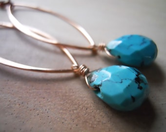 Turquoise Rose Gold Marquise Earrings, Rose gold earrings, Pink Gold hoops. Marquise hoops, RARE gemstone earrings