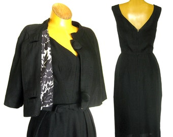 1950s Dress - Black Wiggle Bombshell Dress - Cropped Jacket - Sexy Silhouette