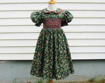 Girls dark green, smocked dress, Size 5, pink flowers, white flowers, light green vines, ready to ship, tea length, party dress, OOAK,