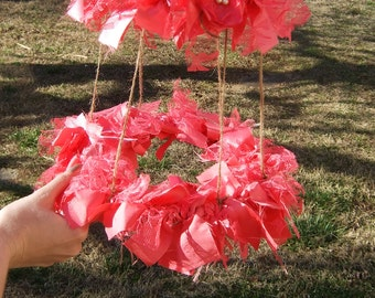 Shabby Garland Scrap Fabric Chandelier Photo Prop Coral Pink