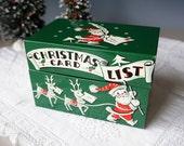 Christmas Recipe Box, Card List Box, File Box, Santa with Reindeer, Index Cards, Green Hinged Metal Box, Keepsake Box, Vintage 1950s