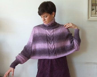 Braided SHRUG with sleeves hand knitted, cropped poncho cape, ombre lavender and lilacs and violets cape poncho, cropped cabled sweater