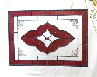 Vintage Look Stained Glass Window Panel, Neutral Amethyst/Wine & Beveled Glass Art, Traditional Stained Glass Window Transom, Unique Valance