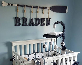 """58"""" Washed Distressed Paddle with Stripes and Six (6) Baby Name Hanging Wood Letters and Nautical Rope / Nautical Nursery / Canoe Paddle"""