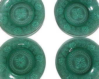 1930s Green Patterned Plates, 4 Vintage Forest Green Glass Plate Set, Depression Glass