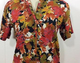 Vintage 80s 90s Floral Blouse / XS-SM