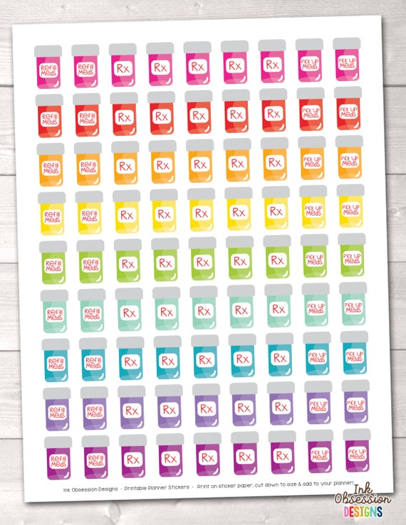 on sale printable pill bottle planner stickers instant