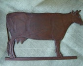 Wooden Cow Wall Hanging Handmade Vintage 1980s Farmhouse Chic French Country