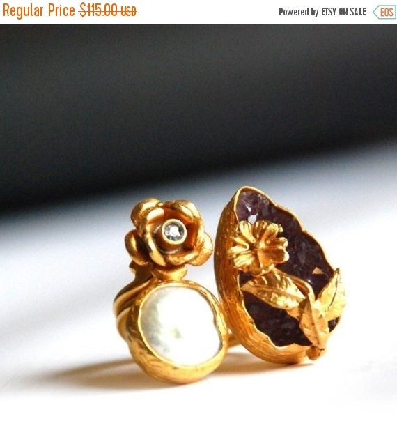 15% Discount Drop Cut Raw Amethyst Ring with a Flower, a Pearl and a Diamond like Zircon Stone