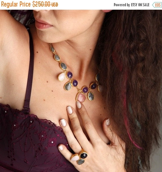 15% Discount Three Stones Necklace with Pink Quartz, Purple Amethyst and Grey Labrodorit Stones