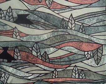 Kimono Fabric Silk Landscape Crepe