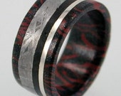 Black Titanium and Copper Mokume Gane Ring inlaid with Meteorite Wood and Sterling Silver