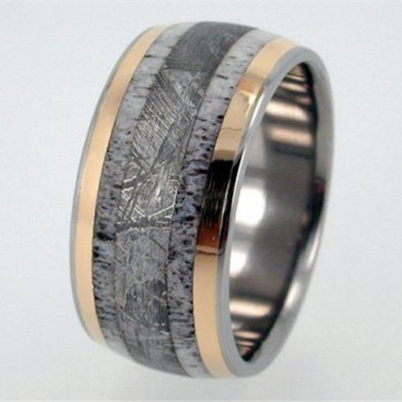 Special Listing Antler Ring, Gibeon Meteorite Ring, 18K Gold Titanium Wedding Band, Meteor Ring, Ring Armor Included