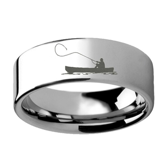 Fishing landscape engraved ring engraved ring tungsten for Fishing wedding band