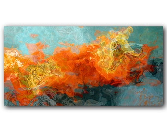 Abstract art Metal Print, modern art aluminum print in orange, yellow and teal, contemporary wall art, 10x20, 20x40, Electric Illusion