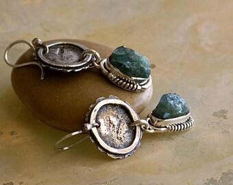 Rustic Sterling Silver & Rough Aquamarine Stones Dangle Earrings . Rustic Style Jewley