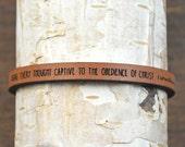 2 corinthians 10:5 - adjustable leather bracelet  (additional colors available)