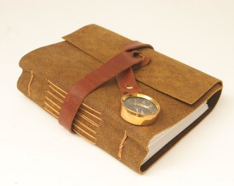 Unique leather travel journal with map, compass, and blank pages by Binding Bee / Handmade in Indianapolis, Indiana