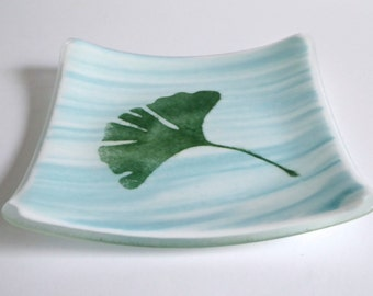Aqua Streaky Fused Glass Plate with Ginkgo Leaf by BPRDesigns
