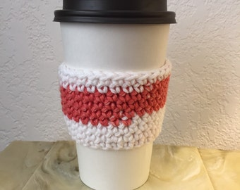 Coral and White Cup Cozy