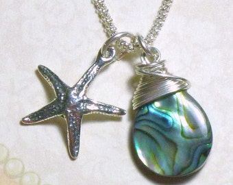 Star Fish Necklace, Star Fish and Abalone Briolette Sterling Silver Charm Necklace - Sterling Silver Star Fish Necklace