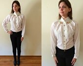 Vintage 1970s Flower Embroidered Blouse / White Long Sleeve Button Down Shirt / Top with Pink, Blue and Green Floral Embroidery