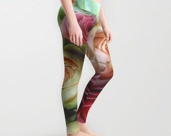 Roses Leggings, Flower Yoga Pants, Unique Fashion, Feminine Yoga Leggings, Cute, Women, Teen Active Wear, Running Pants, Jogging Pants, Surf