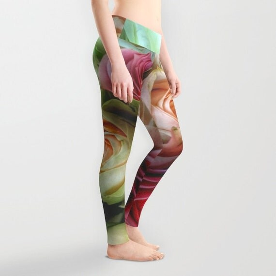 Roses Leggings, Flower Yoga Pants, Unique Fashion, Feminine Yoga Leggings, Cute, Women, Teen Active Wear, Running Pants, Jogging Pants, Surf