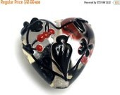 ON SALE 40% OFF Tranquility Vines Heart 11830305 - Handmade Glass Lampwork Bead